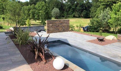 piscine , aménagement , plantation , paillage , terrasse